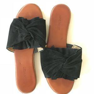Nine West open toe black slides sandals